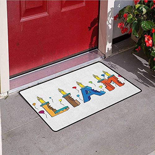 GloriaJohnson Liam Commercial Grade Entrance mat English First Name in a Colorful Letter Style Cake Design with Bite Marks and Candles for entrances garages patios W31.5 x L47.2 Inch Multicolor]()