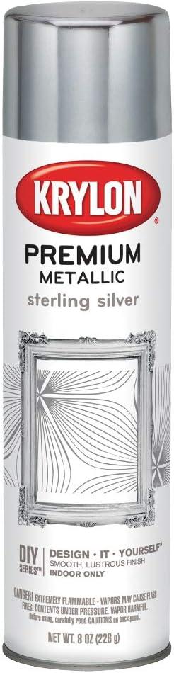 Krylon K01030A07 Premium Metallic Aerosol, 8-Ounce, Sterling Silver Finish