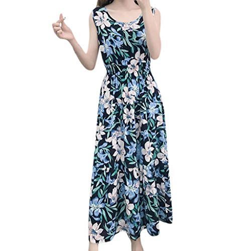 iHPH7 Dress Casual Short Sleeve Striped Swing Midi Dress Bohemian Beach Casual Sleeveless Ladies Print Mid-Calf Women's (L,Blue) ()