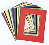 Pack of 25 sets 8x10 MIXED COLORS Picture Mats Mattes Matting for 5x7 Photo + Backing + Bags