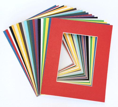 Pack of 25 sets 8x10 MIXED COLORS Picture Mats Mattes Matting for 5x7 Photo + Backing + Bags by Unknown