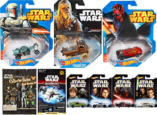 Hot Wheels Rat Rod Boba Fett Star Wars Character Car Bundled with Darth Maul & Chewbacca Die-Cast + Master Apprentice Vehicles and Micro Ships & Mini Figures Collector Park Series 9 Items