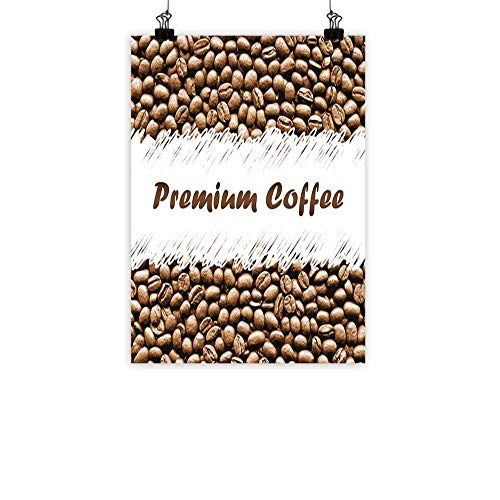 BarronTextile Coffee Abstract PaintingFreshly Roasted Arabica Beans Premium Quality Doodle White Border Being Robust Natural artCocoa White 16