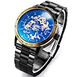 Carrie Hughes Men's Steampunk Automatic Mechanical Discoloration Glass Skeleton Stainless Steel Watch 8