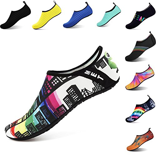 OOLIVUPF Water Sports Shoes Barefoot Beach Pool Shoes Quick Dry Aqua Yoga Socks for Men Women Building 42/43