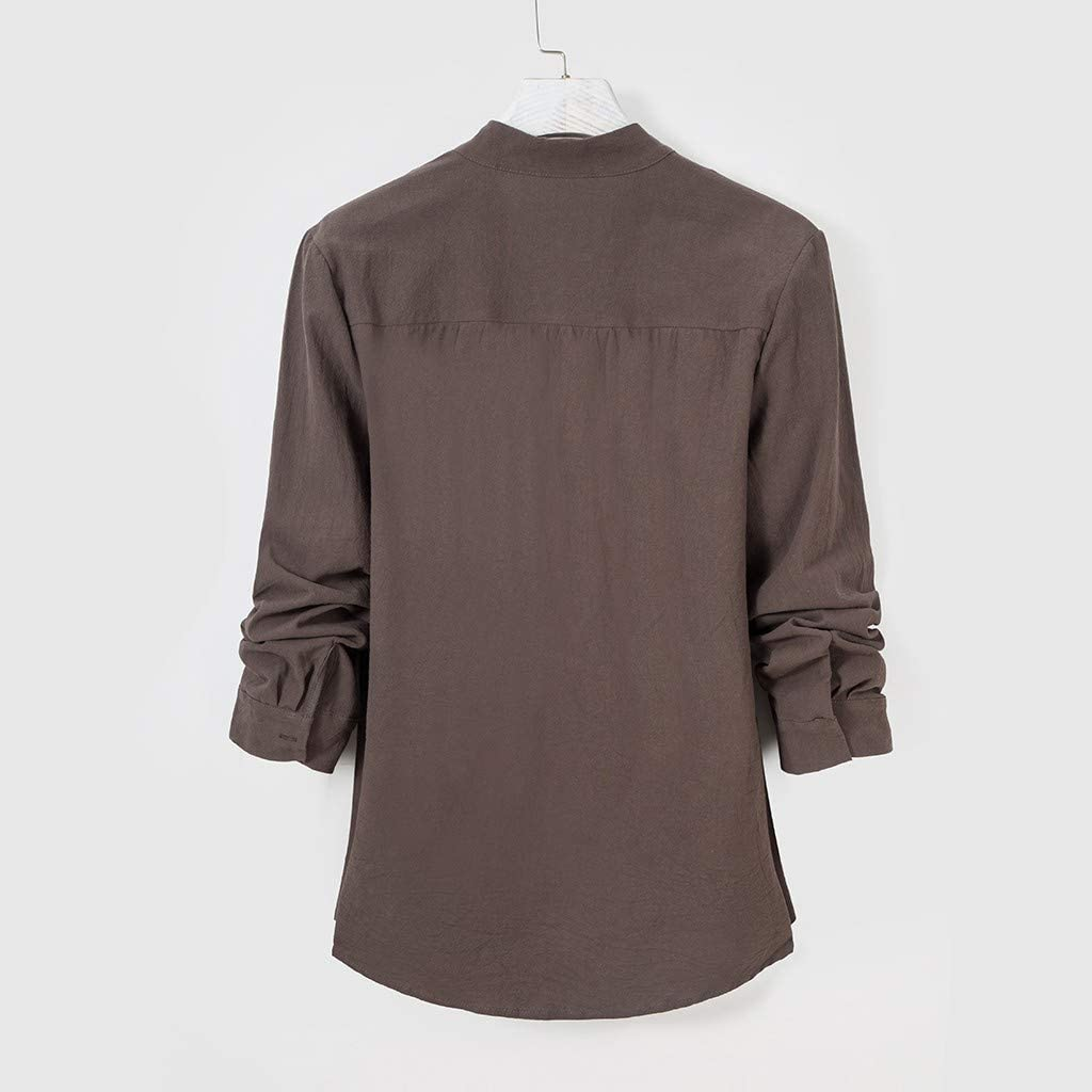 Womens Double-Breasted Linen Shirts Long Sleeve Button Up Vintage Blouse Shirt
