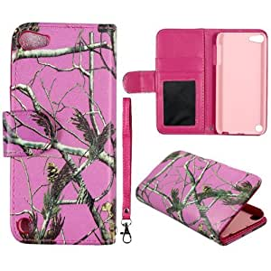 Pink Camo Pine Flip Leather Case with Id Pouch Apple Ipod Touch 5 5th Generation AT&T Case Cover Hard Phone Case Snap-on Cover Rubberized Touch Protector Faceplates