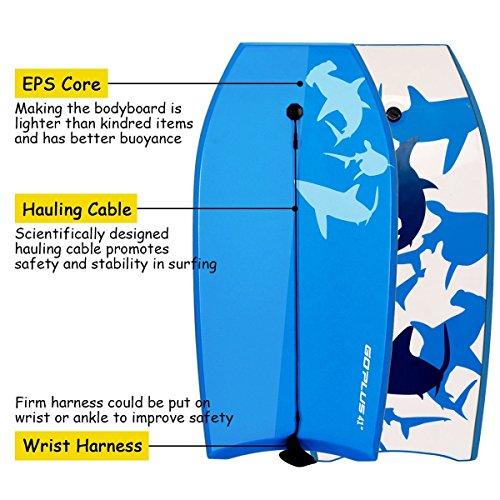 Goplus 41 inch Super Bodyboard EPS Core, IXPE Deck, HDPE Slick Bottom, Light Weight Perfect Surfing (Blue White)