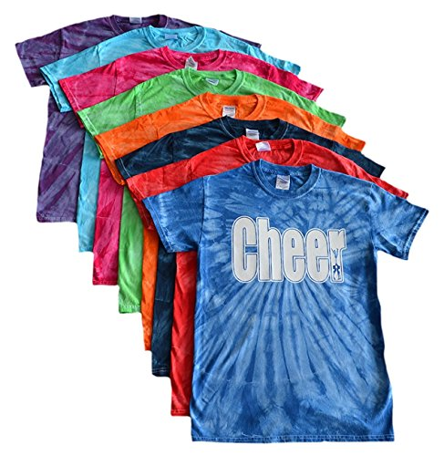 JANT girl Cheer Tie Dye T-Shirt - Cheer White Logo (Turquoise, YM)