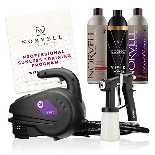 Norvell Sunless Kit - M1000 Mobile HVLP Spray Tan Airbrush Machine + 8 oz Tanning Solutions in Ultra Vivid 'Cosmo', Venetian and Dark + Norvell Training Program (Retail Value $490) Packaging May Vary (Best Organic Spray Tan Solution)