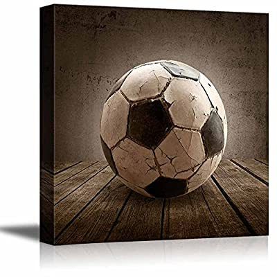 Goal! Soccer Rustic Square Sport Panel - Futbol - Celebrating American Sports Traditions - Canvas Art Home Art - 12x12 inches