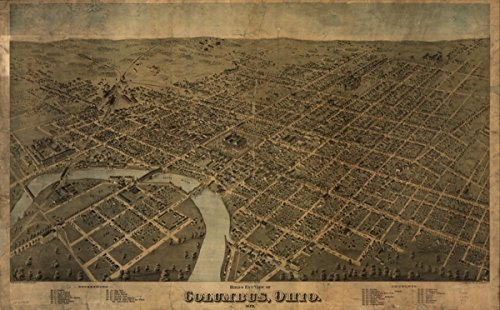 Map: 1872 Birds eye view of Columbus, Ohio|Columbus|Columbus - Georgia Columbus Shopping