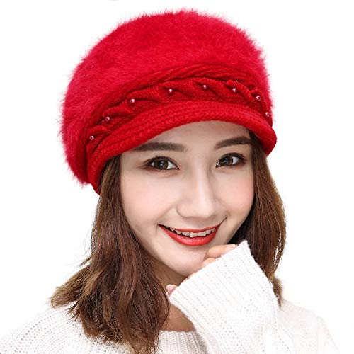 Qushy Women Ladies Colors Winter Beret Barret Beanies Knitted Hat Cap