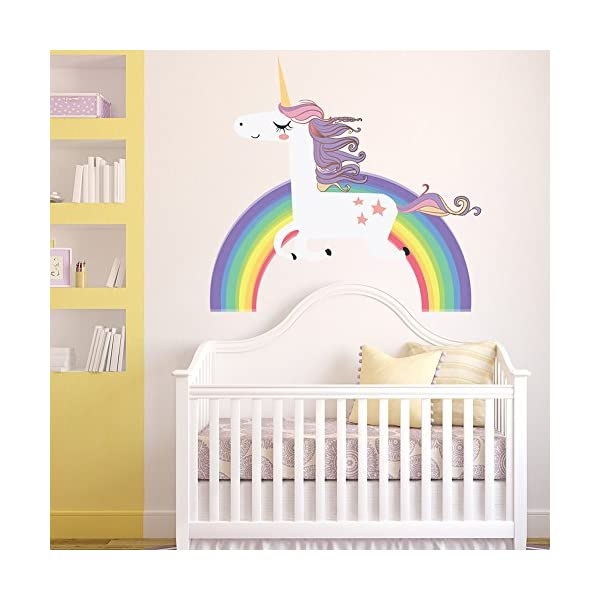 Havenport Rainbow Unicorn Wall Sticker for Girls Bedroom Wall Decal Art Nursery Home Decor 7
