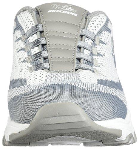 Skechers Sport Women's D'Lites Slip-On Mule Sneaker Gray/White Knit bwg8B8a