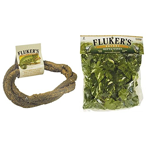 (Fluker's Reptile Amphibian Habitat Decor Variety Pack - Bend-A-Branch and Repta-Vines (6 Ft. Long))