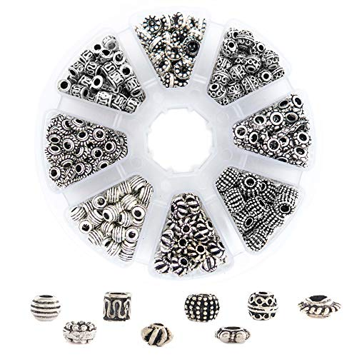 500 PCS Tibetan Bali Antique Silver Metal Spacer Beads for Jewelry Making Adults, 8 Style Large Hole Beads for DIY Bracelets & Necklace, Bulk Alloy Bead Spacers Findings Bead Assortment w/Organizer