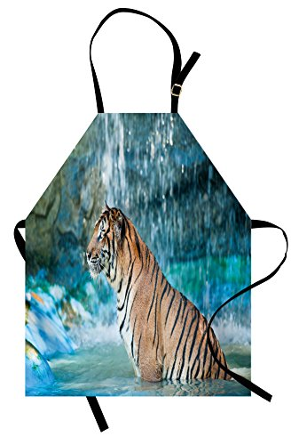 Ambesonne Tiger Apron, Feline Beast in Pond Searching for Prey Sumatra Indonesia Scenes, Unisex Kitchen Bib Apron with Adjustable Neck for Cooking Baking Gardening, Turquoise Pale Brown Black by Ambesonne