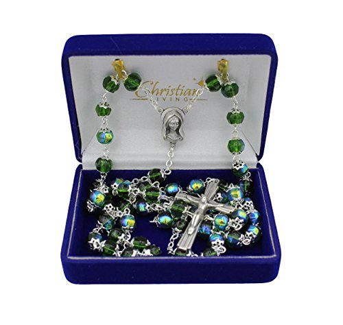 6mm Glass Bead Double Capped Italian Made 21-inch Rosary (Rosary 6mm Glass Bead)