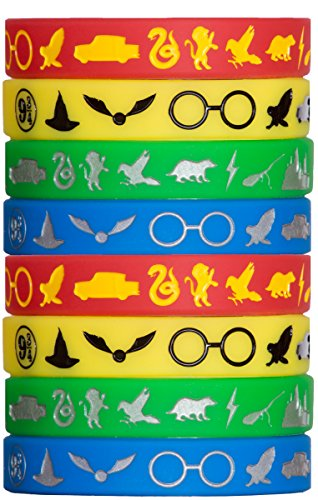 Price comparison product image Wizard Houses Silicone Wristbands - 8 Pack Party Favor Set (2 of Each Color)
