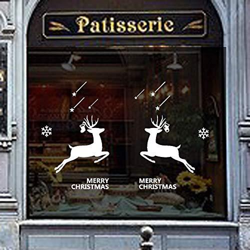 Mysky New Year Merry Christmas Elk Wall Sticker Home Shop Windows Decals Xmas Decor