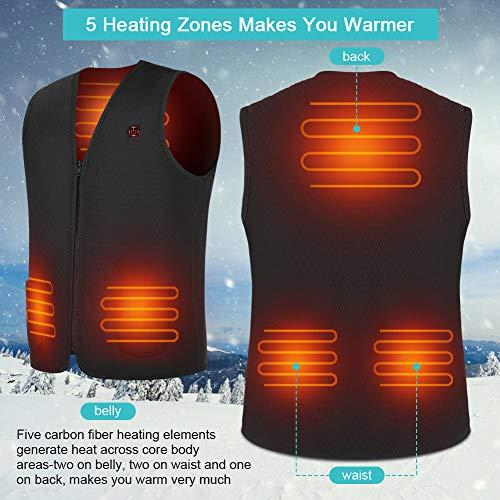 Chaleco Calefactable Lavable, Chaleco Calefactor de Invierno con Línea de Alimentación USB para Hombre y Mujer, Chaleco Térmico Eléctrico para Caza Cámping Excursionismo Esquí, Negro