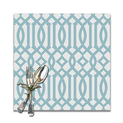 Yuteea Modern White and Sky Blue Imperial Trellis Table Placemats for Dining Table,Washable Table mats Heat-Resistant(12x12 inch) Set of 6