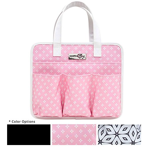 Everything Mary Pink Deluxe Tag Along Storage Organizer Tote - Bin for Tools, Crafts, Home, Garage, Make-Up, Desk, Nursery, Supplies Organizational Storage Bin with Handles for Travel