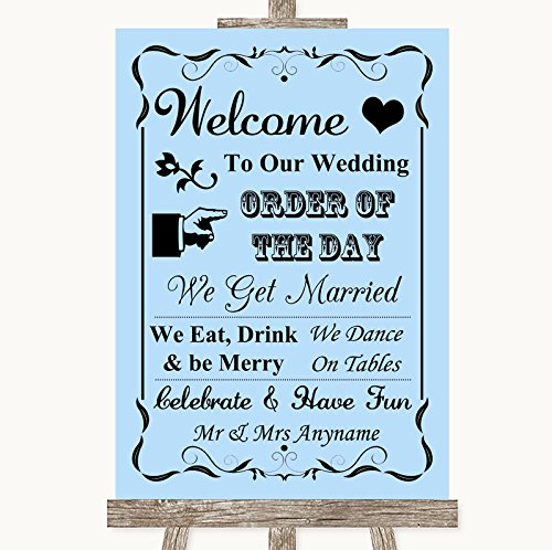 Blue Welcome Order Of The Day Personalized Wedding Sign