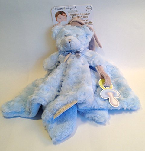 Blankets and Beyond Blue Rosette Nunu Bear with Pacifier Holder and Roller Ties
