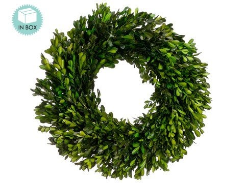 17 Inch Real Boxwood Wreath- Preserved (Preserved Greens)