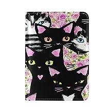 ALAZA Black Cat Pink Rose Flower Leather Passport Holder Cover Case Travel One Pocket