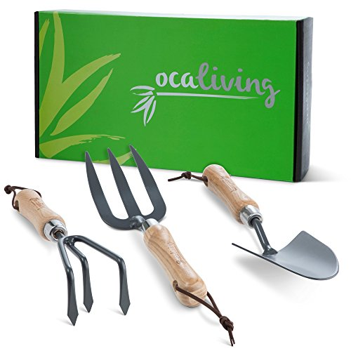 OCALIVING 3-Piece Gardening Hand Tool Set – Garden and Planting Kit Essentials. Sharp, Strong, Durable Steel Planter Accessories with Ergonomic Solid Ash Wood Handles.