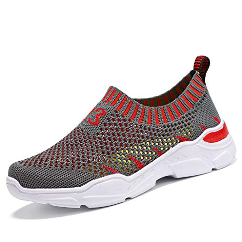 ANJUNIE Children Boys Girls Lightweight Casual Mesh Breathable Outdoor Kids Sneakers Running Shoes (2-Red,28) ()