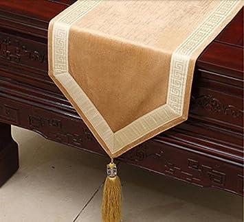 Placemat Simples modernos elegantes manteles de mesa bandera de la tabla del bordado círculo tapete de mesa de tela decorativa bandera de cama de lujo, 33*150cm: Amazon.es: Hogar