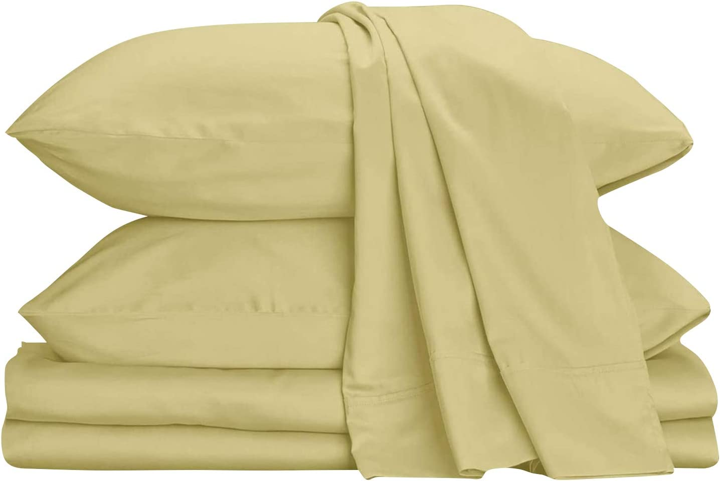 Urban Hut Egyptian Cotton Sheets Set (4 Piece) 800 Thread Count - Bedspread Deep Pocket Premium Quality Bedding Set, Luxury Bed Sheets for Hotel and Home Collection Soft Sateen Weave (King, Sand)