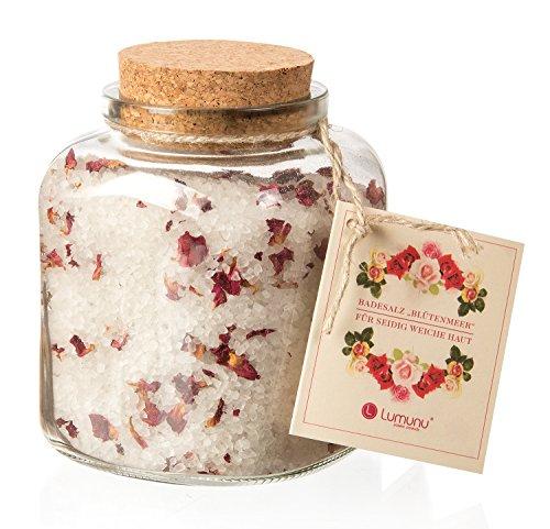 Deluxe Natur Badesalz Rosen Blütenmeer, feinstes mineralisches Steinsalz für seidig weiche Haut (700g)