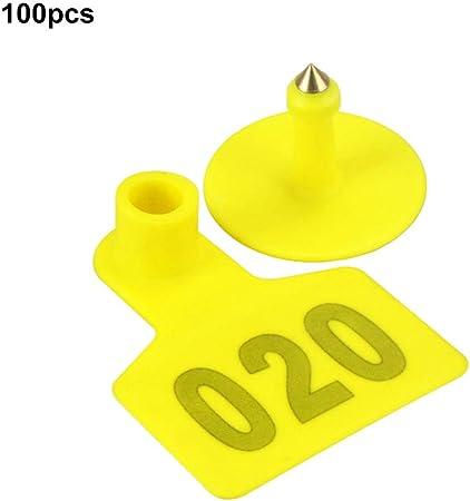 100 Sets Yellow Plastic Ear Tag Animal Livestock For Rabbit Pig Label 001-100