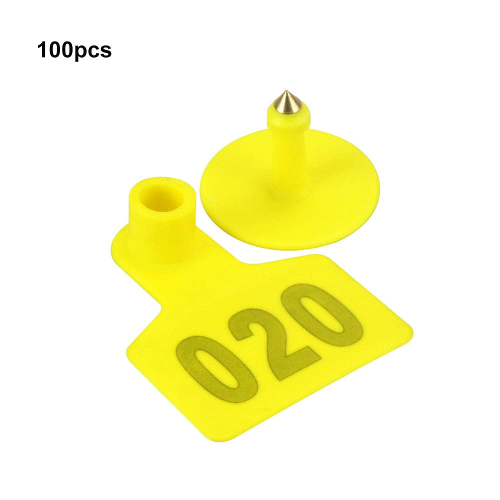 MonLiya 001-100 Number Livestock Ear Number Tag Plastic Special Animals Identification Cards for Cattle Pig No Fade Farm Poultry Accessories (Yellow) by MonLiya