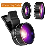 Crenova Phone Camera Lens Kit, 0.45x Wide Angle Lens, HD 128° Super Wide Angle 20X Macro Lens, Clips-On Cell Phone Lens for iPhone/Samsung/Android/Most Smartphones and Tablets
