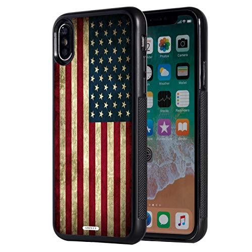 iPhone Xs Max Case,AIRWEE Slim Anti-Scratch Shockproof Silicone TPUBack Protective Cover Case for Apple iPhone Xs Max 6.5 (2018),Old American Flag