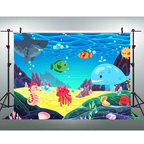 Undersea Backdrop 7x5ft Under The Sea Birthday Party Background for Photography Baby Shark Photo Shoot Props Baby Shower Decorations -