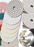 4'' Wet Diamond Polishing Pads 28 Pieces Professional Glaze Buffing Pad Aluminum backer Pad Granite Concrete Marble Travertine Quartz Counter top floor surface glass