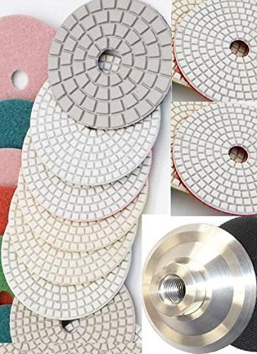 4'' Diamond Polishing Pads 9 Pieces Professional Glaze Buffing Pad Aluminum backer Granite Concrete Marble Travertine Quartz Counter top floor surface glass