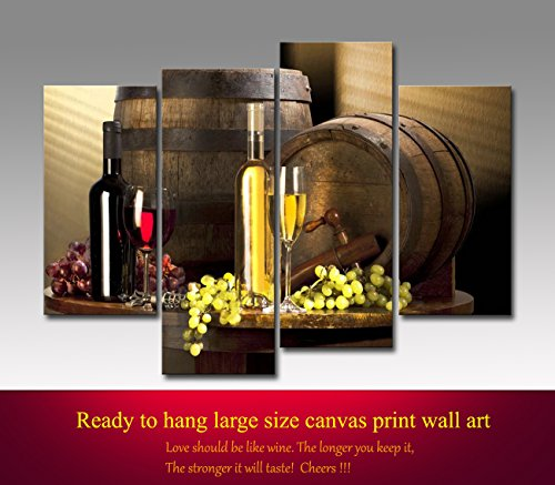 Framed grape wine canvas wall art prints for kitchen for Bar decor amazon