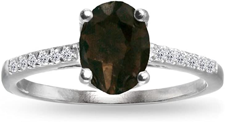 SVC-JEWELS Round Cut Smoky Quartz 14K Black Gold Plated Rose Tiara Princess Ring