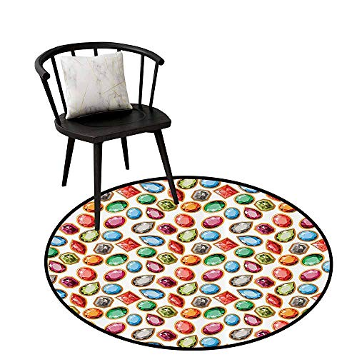 Breathable Round Rug Diamond Decor for Bedroom Diamond Patterns in Different Type of Forms Facets Square Oval Triangle Topaz Illustration Multi D47(120cm)