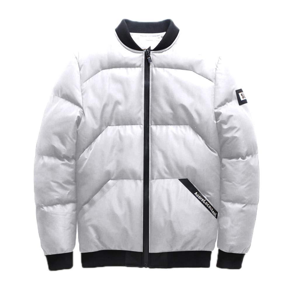 YKARITIANNA Men's Solid Quilted Coats, Winter Zipper Stand Collar Cotton Pocket Padded Coat Cotton Outwear Tops