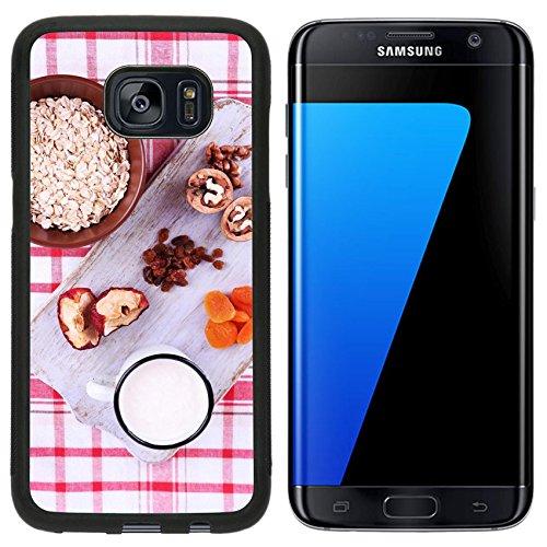 Liili Samsung Galaxy S7 Edge Aluminum Backplate Bumper Snap Case iPhone6 IMAGE ID 33562412 Bowl of oatmeal mug of yogurt marmalade chocolate raisins dried apricots and w