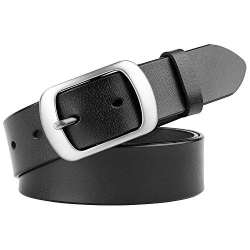 Ladies Designer Belts (Whippy Genuine Leather Dress Black Belt for Women Girls Designer Belts 1.25
